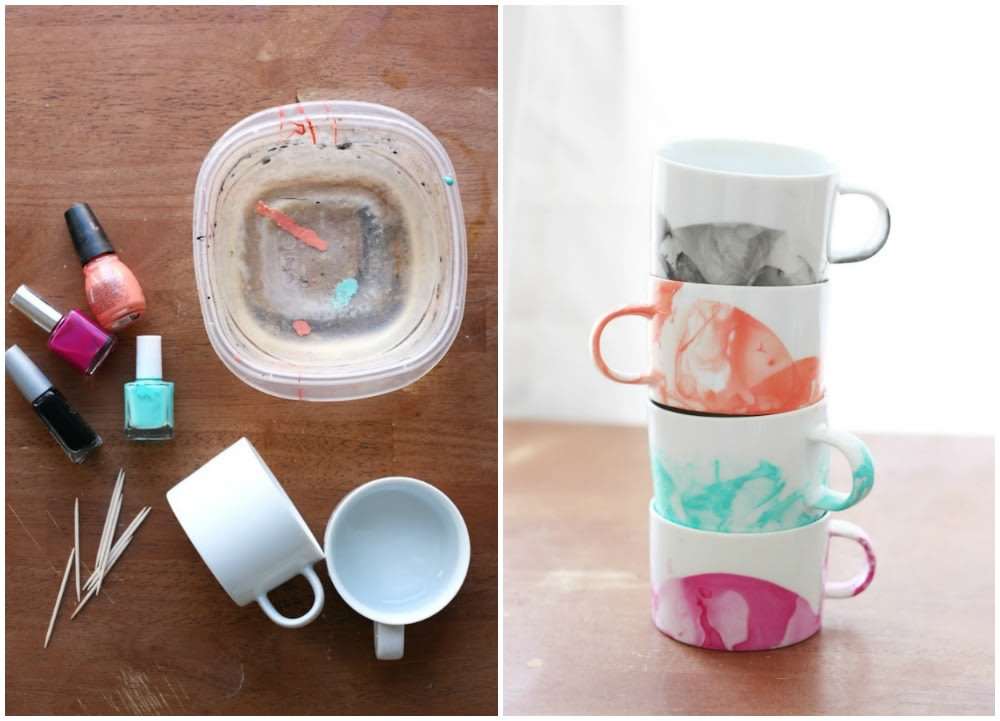 DIY Marbled Mugs with Nail Polish (with Video!) - DIY Candy