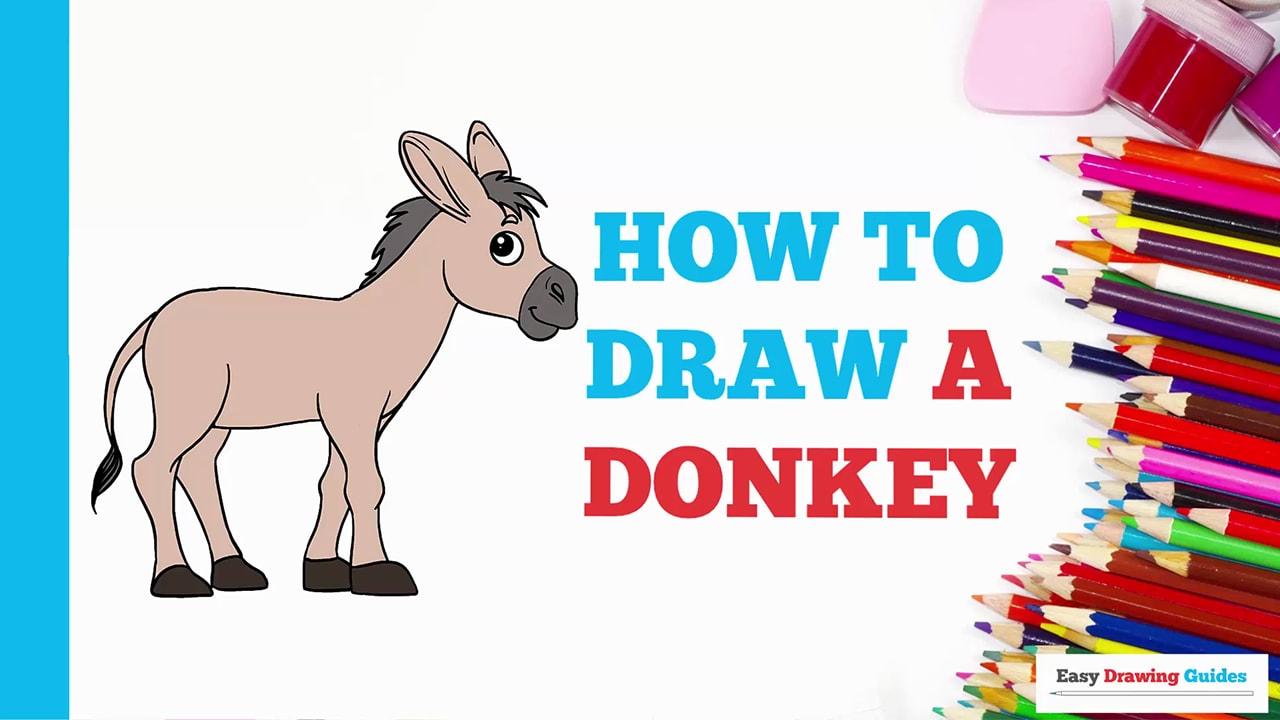 How To Draw A Donkey Really Easy Drawing Tutorial