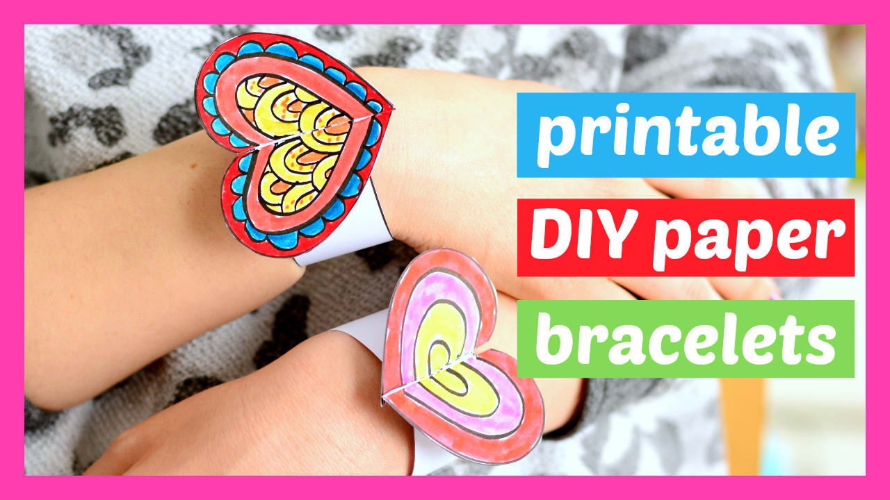 photograph regarding Printable Wristband Template titled Center Paper Bracelets for Little ones