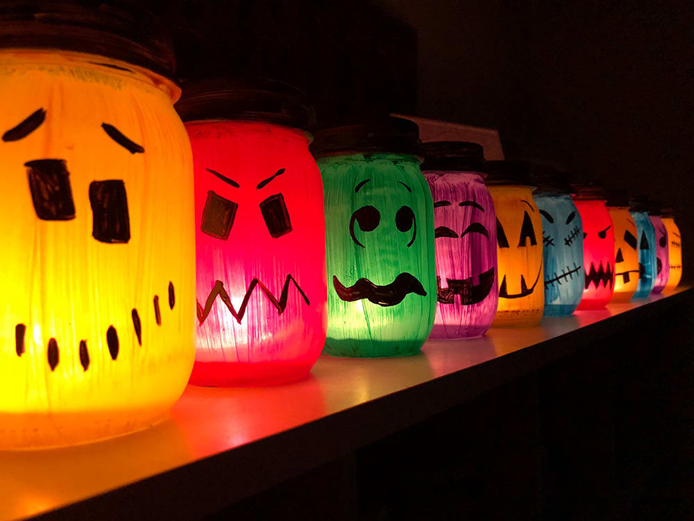 Halloween Luminaries Spooky Colorful Painted Jars To Light Up The