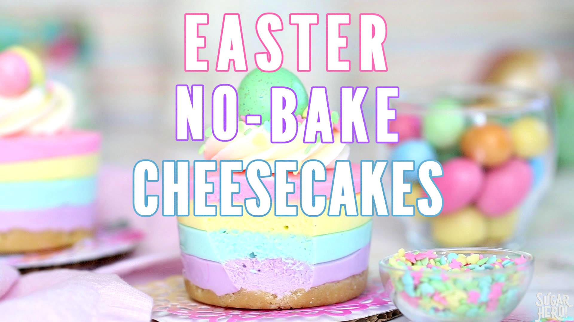 Easter NoBake Mini Cheesecakes SugarHero