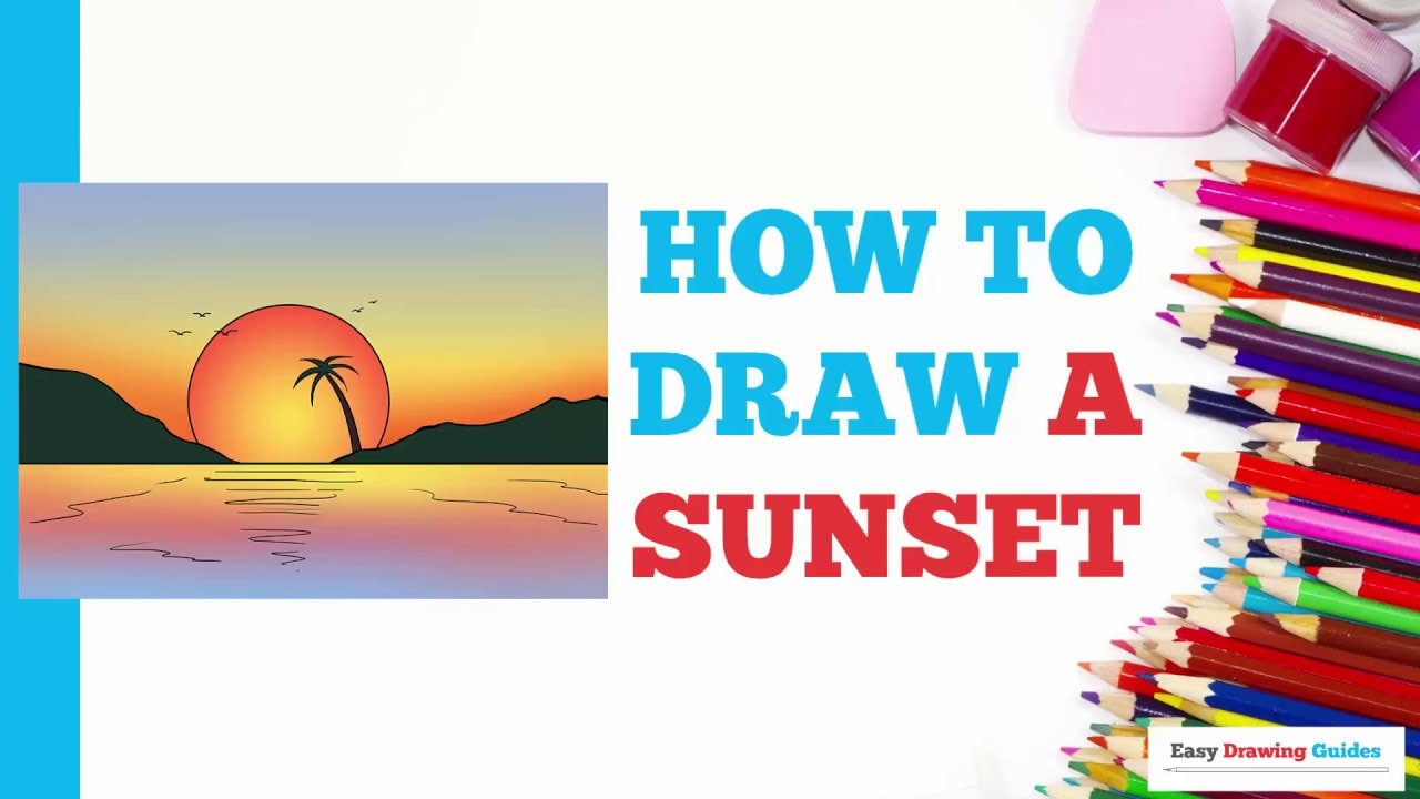 How To Draw A Sunset Really Easy Drawing Tutorial