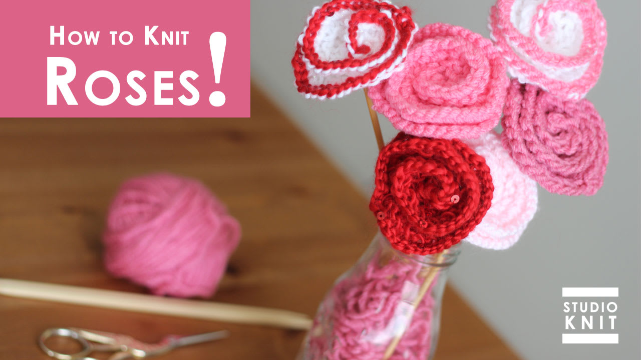 How to Knit Rose Flower Pattern with Video Tutorial | Studio Knit