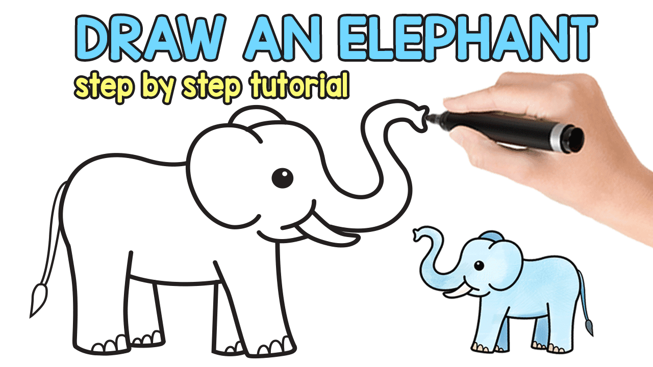 How to Draw an Elephant - Step by Step Elephant Drawing Tutorial ...