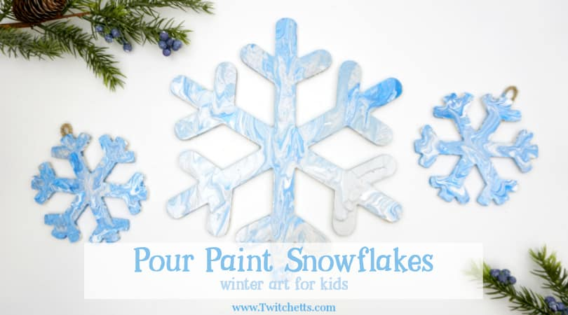 Pour Painted Snowflake Decorations Winter Art For Kids Twitchetts