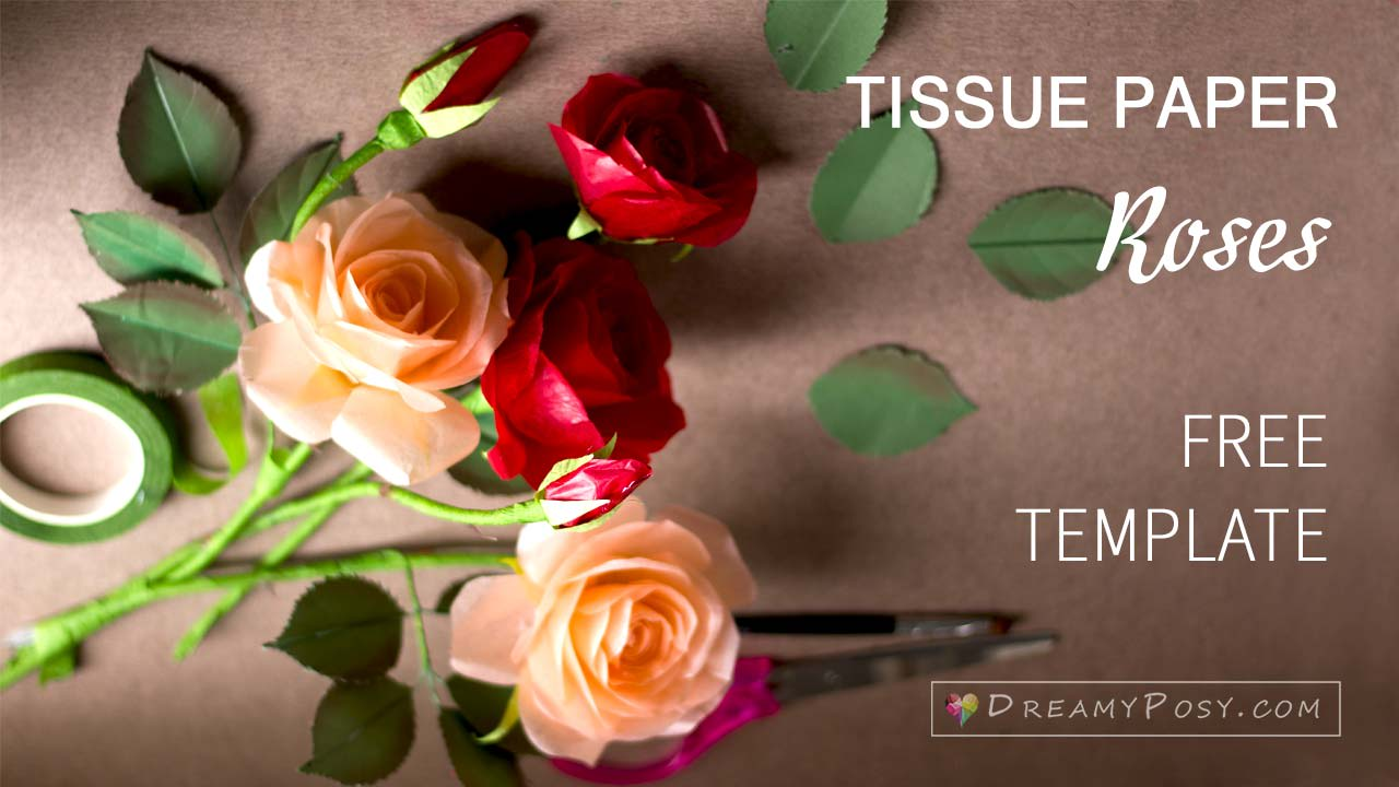 How To Make Tissue Paper Rose Free Template Step By Step