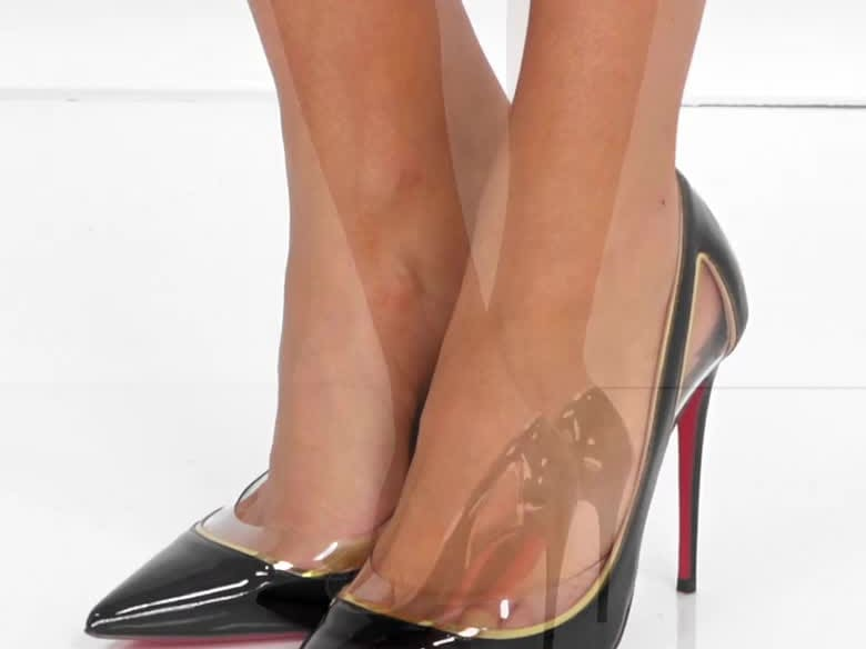 340ab6ab79ce Cosmo Cutout Metallic Piped Patent Pumps With PVC Trim by Louboutin