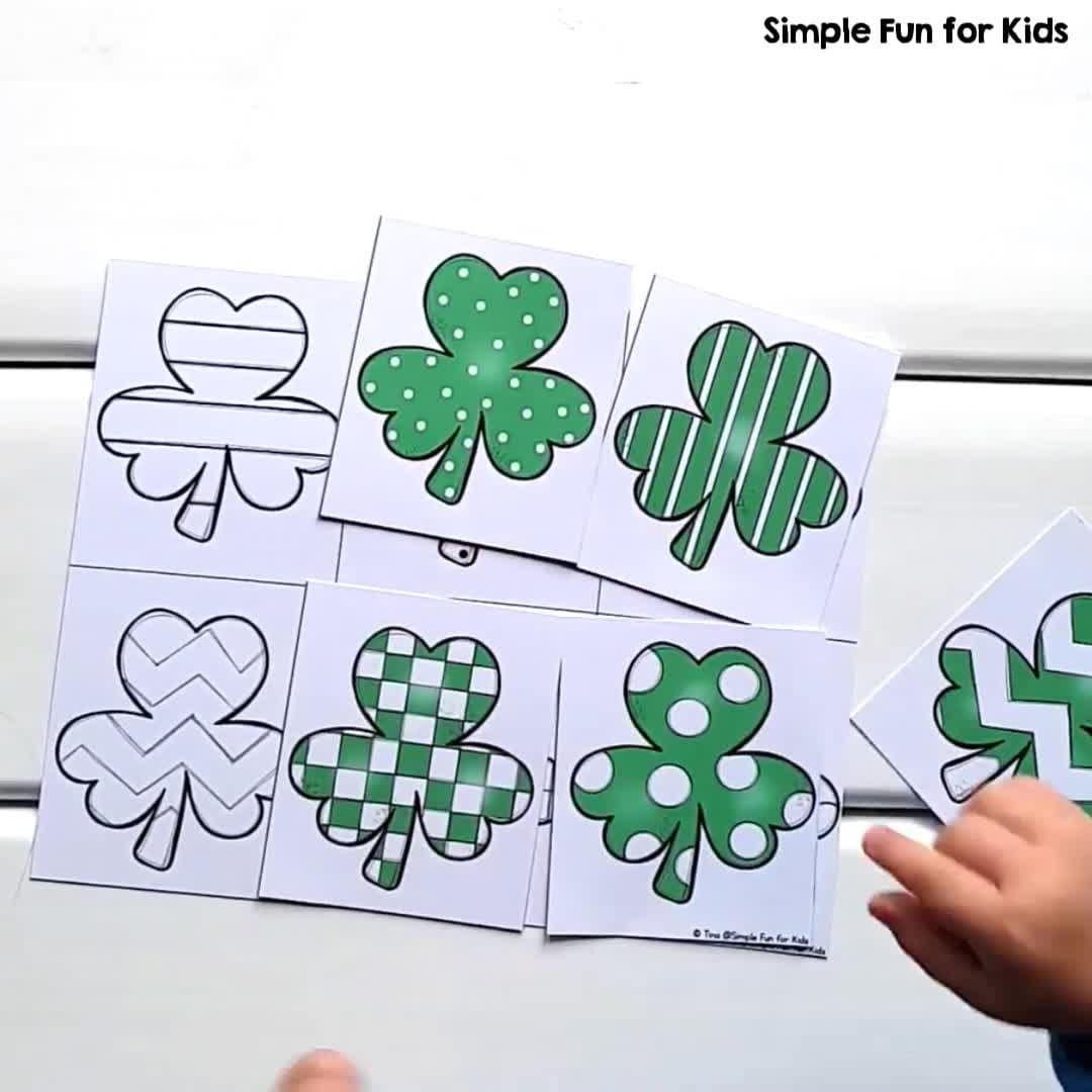 shamrock matching game for toddlers simple fun for kids